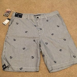NWT Cremieux men's navy and white striped shorts